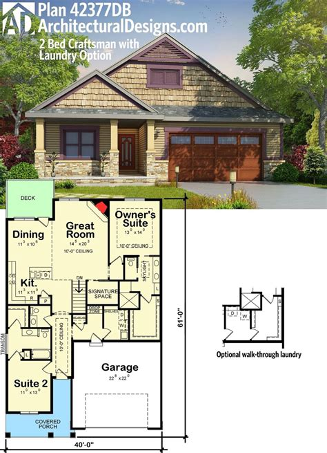 plan db  bed craftsman house plan  laundry option small house plans cottage plan