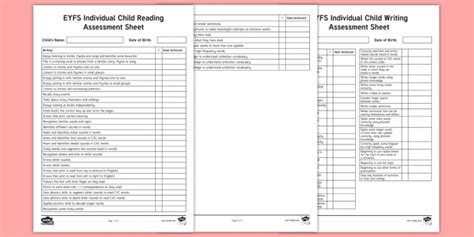 * New * Eyfs Reading And Writing Individual Child Assessment Pack Eyfs