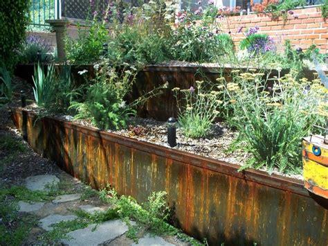 Metal Retaining Walls, Planters, Steps  Eclectic Garden
