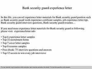 Bank security guard experience letter for Security guard experience certificate letter