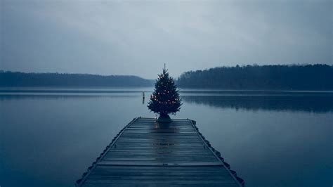 christmas tree by the water wallpaper 1070141