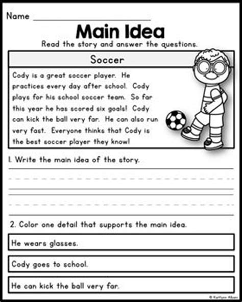 Main Idea And Supporting Details Worksheets 4th Grade Pdf 1000