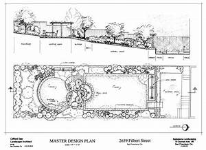 San Francisco Garden Design Plan With Elevation    Pencil