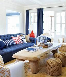 coastal home inspirations on the horizon red white blue With interior design living room navy blue