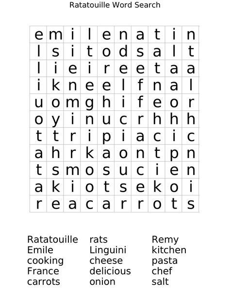 ratatouille word search worksheet free math worksheets