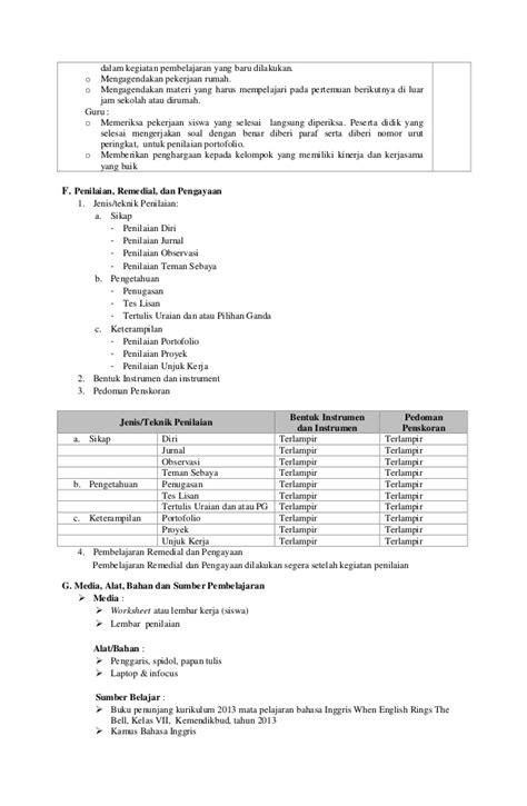 RPP Bahasa Inggris Kelas VII