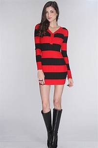 Red And Black Sweater Dress - Bronze Cardigan
