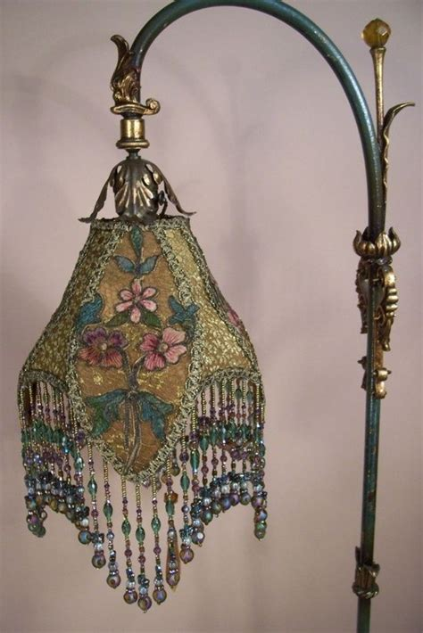 antique l shades with fringe beautiful silk lshade with glass bead fringe