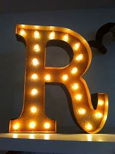 letter r 24quot vintage marquee lights initials house With marquee letter lights