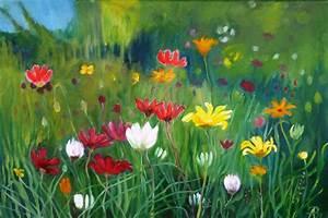 Blumen Bilder Gemalt : blumenwiese 06 wei bunt gras wiese von traumbild bei kunstnet ~ Orissabook.com Haus und Dekorationen