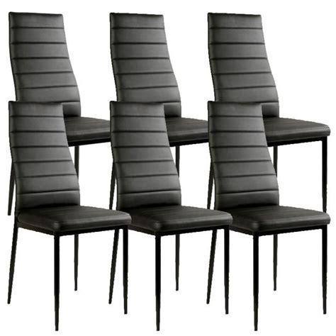 chaises lot de 6 lot de 6 chaises noir matelassé design achat vente canapé sofa divan pvc cdiscount
