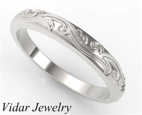 Leaves Engraved Wedding band