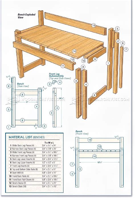 Kitchen Table Bench Plans Free kitchen table and bench plans woodarchivist