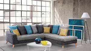 Salon Gris Bleu : canape d 39 angle droite morea gris fonce gris clair bleu jaune ~ Melissatoandfro.com Idées de Décoration