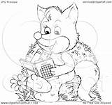 Fox Outline Coloring Cute Activity Clipart Illustration Royalty Rf Using Bannykh Alex sketch template