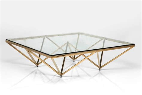 deco brass square glass coffee table by i retro notonthehighstreet
