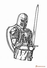 Knight Coloring Knights Medieval Pages Drawing Print Sword Template King Executioner Colouring Armor Soldier Sketch Axe Spirit Clip Clipart Knighthood sketch template