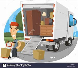 Auto Für Umzug Mieten : umzug lkw vektor cartoon illustration stockfoto bild ~ Watch28wear.com Haus und Dekorationen