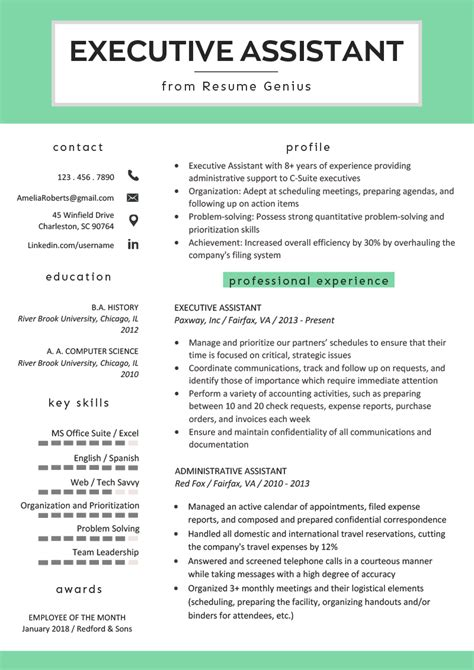 Resume Templates For Assistant by Executive Assistant Resume Exle Writing Tips Rg