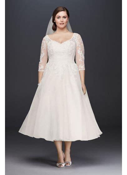 tulle  size tea length wedding dress davids bridal
