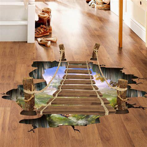 floor decor uk 3d floor wall sticker removable bridge mural decals vinyl art living room decor