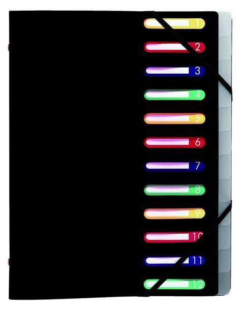 bureau des ressources humaines trieur neutre 3 rabats à élastique 12 compartiments noir