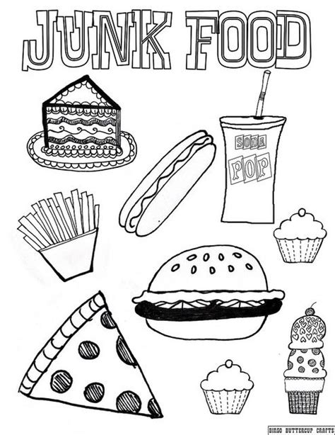 Junk Food 8.5''by11'' coloring page | Printables | Food