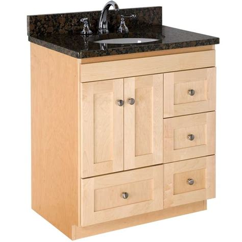 wide shaker natural maple vanity  uba tuba granite