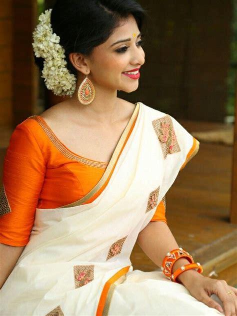 beauty girl south india kerala saree blouse kerala