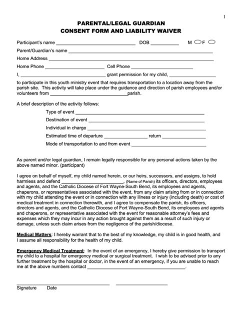 parental legal guardian consent form and liability waiver printable pdf download