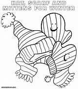 Scarf Coloring Pages Template Mittens Sheet Templates sketch template