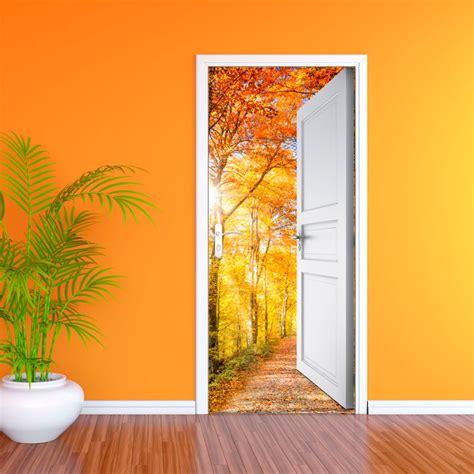 Sticker porte ouverte sur bois d automne 204 x 83 cm