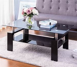 glass, coffee, table, with, rectangular, tabletop, metal, leg, , black, coffee, table, in, living, room