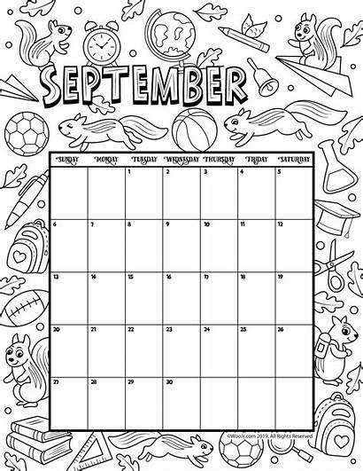 Calendar September Printable Coloring