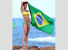 Raica Oliveira flies the flag for Brazil as models a VERY