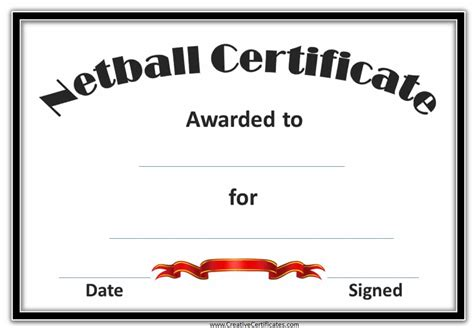 netball certificates