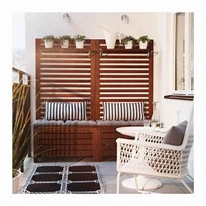 Applaro bankwandpaneel mit bord aussen braun las balkon for Französischer balkon mit ikea garten bank