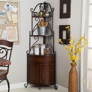 Corner, Bakers, Rack, With, Wrought, Iron, Frame, And, Wood, Storage, Shelves
