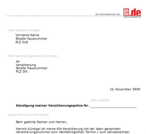 Kfz Versicherung Kuendigen by Kfz Versicherung K 252 Ndigen Vorlage Kostenlos