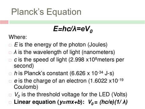 Energy Of Light Equation by Planck S Constant Presentation