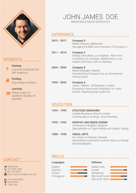 Create Cv Template by Cv Template Free Cv Builder Best Cv Templates