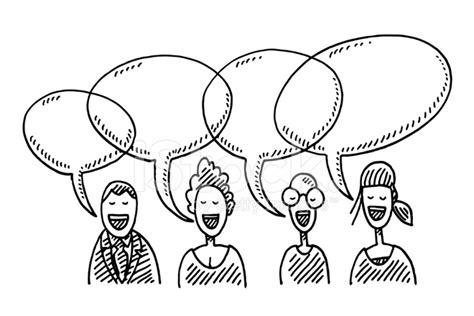 Kleurplaat Mensen Die Praten by Team Mensen Spraak Bubbels Tekening Stockfoto S