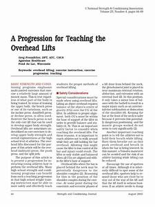 A Progression For Teaching The Overhead Lifts 10