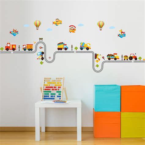 wandtattoo jungen kinderzimmer wandtattoo babyzimmer kinderzimmer stra 223 e bagger el flugzeug ballons m 228 dchen jungen