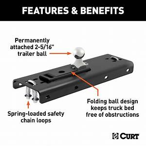 Curt 61652 Gooseneck Hitch Folding Ball Install Kit Fits