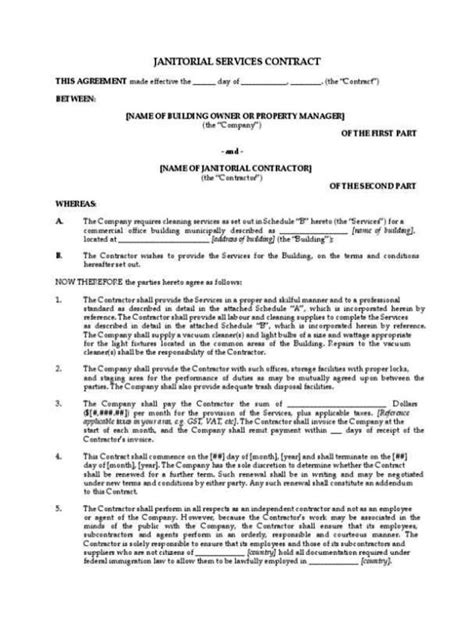 contract  janitorial services template