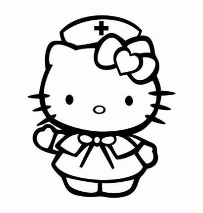 Kitty Hello Nurse Decal Coloring Sticker Dibujos