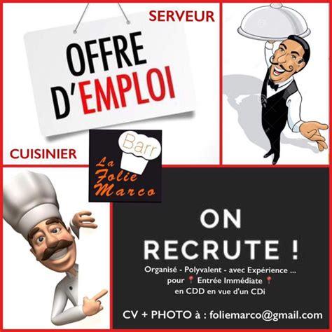 offre emploi cuisine offre d 39 emploi restaurant folie marco recrute