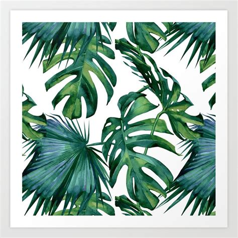 Just download, edit and print to make your own monogram! Classic Palm Leaves Tropical Jungle Green Art Print by followmeinstead | Society6