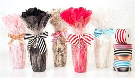 Easy Bottle Wrap Featuring Our New Cabana Stripes Ribbon